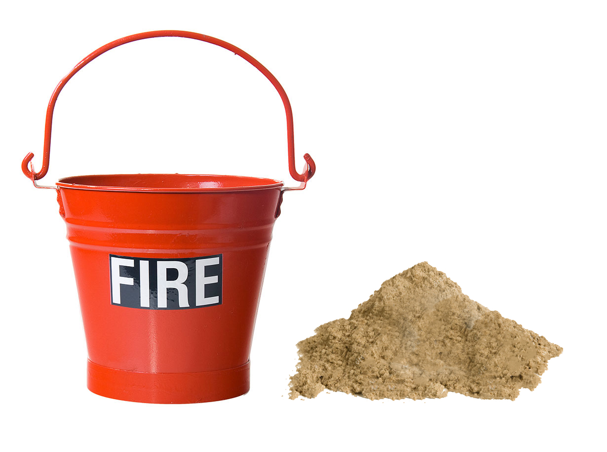 Metal fire bucket with sand
