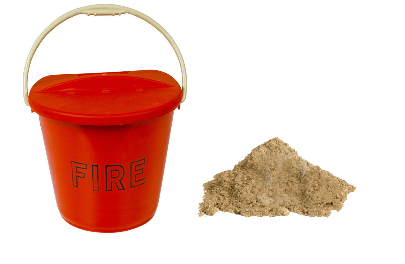 Plastic fire bucket with sand