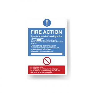 Fire Action Notice A4 Foamex (Holiday Let/Student HMO)