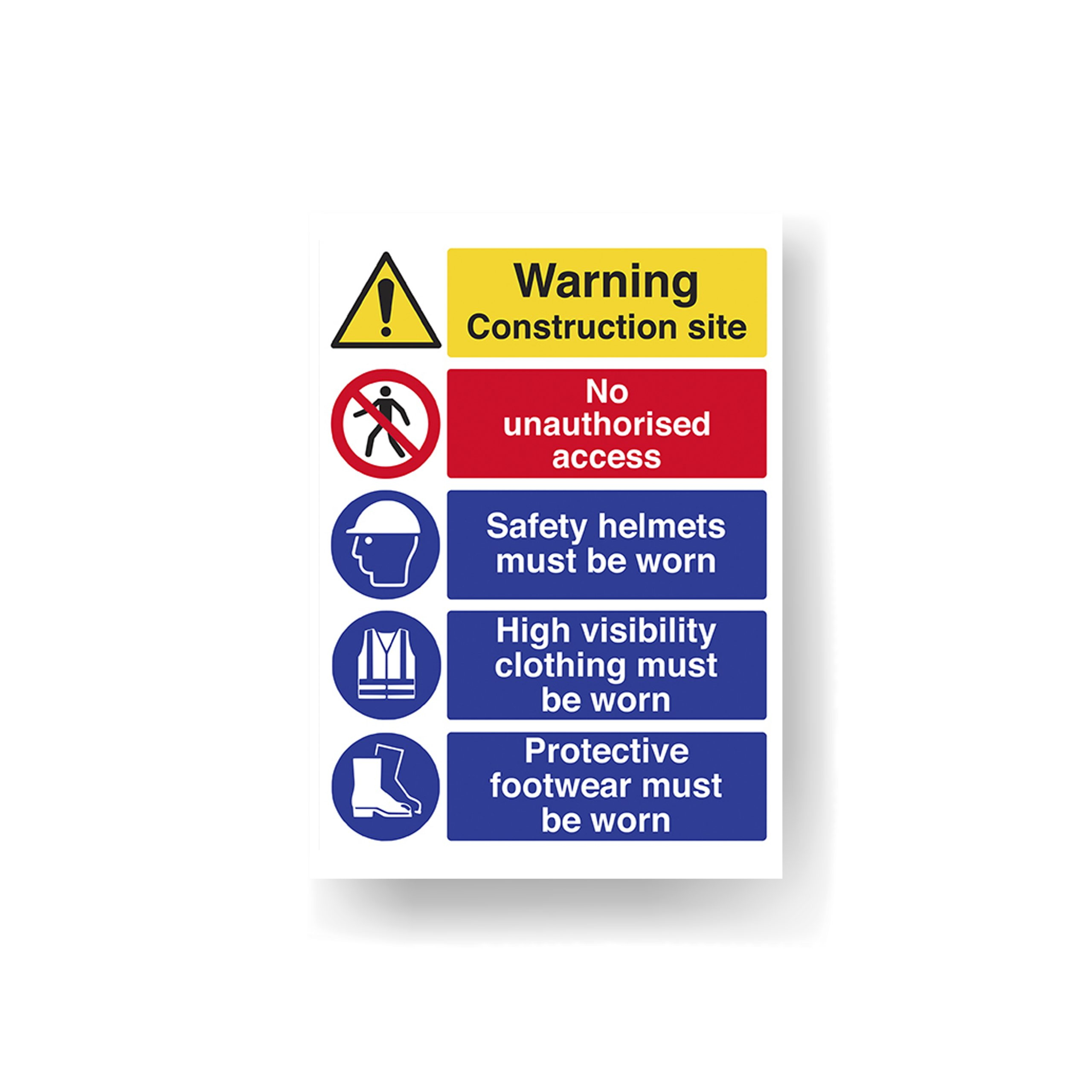 Building site construction safety sign